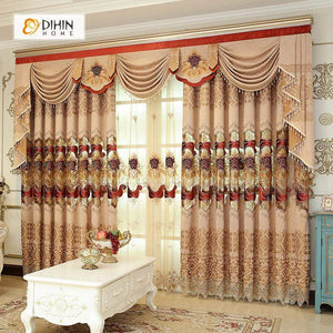 DIHINHOME Home Textile European Curtain DIHIN HOME Red Exquisite Embroidered Valance ,Blackout Curtains Grommet Window Curtain for Living Room ,52x84-inch,1 Panel