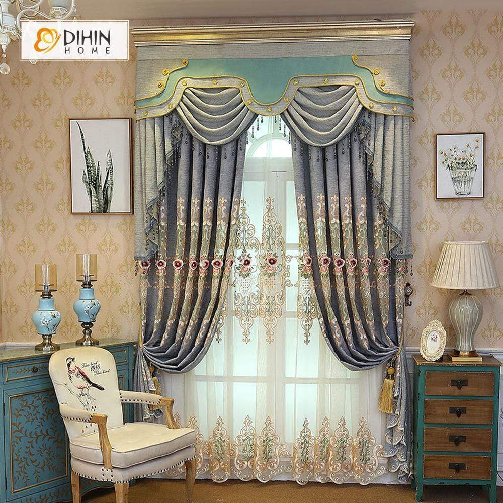 DIHINHOME Home Textile European Curtain DIHIN HOME Red Flowers Embroidered Blue Valance ,Blackout Curtains Grommet Window Curtain for Living Room ,52x84-inch,1 Panel