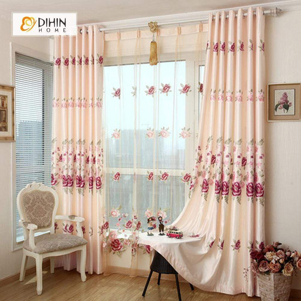 DIHINHOME Home Textile European Curtain DIHIN HOME Red Flowers Embroidered Elegant ,Blackout Curtains Grommet Window Curtain for Living Room ,52x84-inch,1 Panel