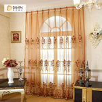 DIHINHOME Home Textile European Curtain DIHIN HOME Red Sheer Curtain Embroidered Valance ,Blackout Curtains Grommet Window Curtain for Living Room ,52x84-inch,1 Panel