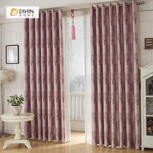 DIHINHOME Home Textile European Curtain DIHIN HOME Red Tree Printed,Blackout Grommet Window Curtain for Living Room ,52x63-inch,1 Panel
