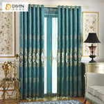 DIHINHOME Home Textile European Curtain DIHIN HOME Retro Blue Flowers Embroidered,Blackout Curtains Grommet Window Curtain for Living Room ,52x84-inch,1 Panel