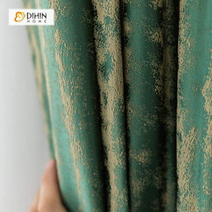 DIHINHOME Home Textile European Curtain DIHIN HOME Retro Green Italy Velvet,Blackout Curtains Grommet Window Curtain for Living Room ,52x84-inch,1 Panel