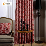 DIHINHOME Home Textile European Curtain DIHIN HOME Retro Jacquard Printed Curtain ,Cotton Linen ,Blackout Grommet Window Curtain for Living Room ,52x63-inch,1 Panel