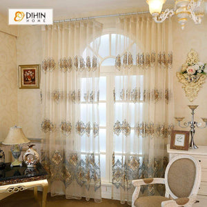 DIHINHOME Home Textile European Curtain DIHIN HOME Sheer Curtain Embroidered Valance ,Blackout Curtains Grommet Window Curtain for Living Room ,52x84-inch,1 Panel