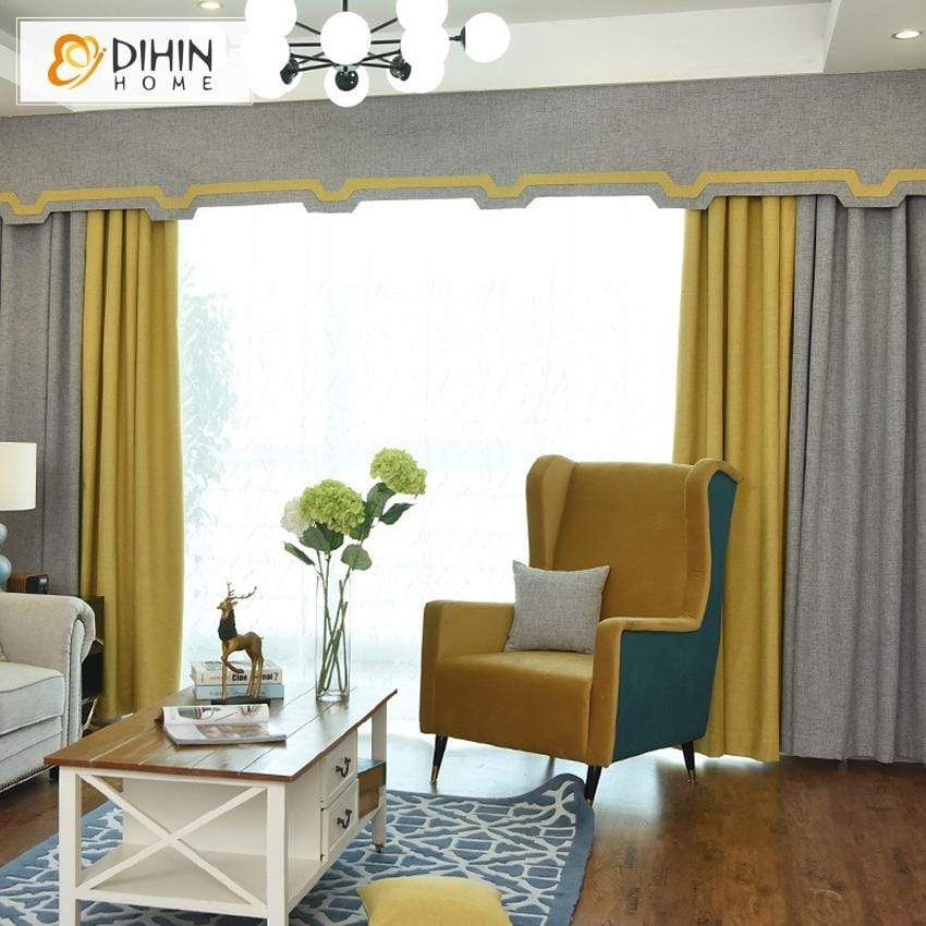 DIHINHOME Home Textile European Curtain DIHIN HOME Simple Grey and Yellow Printed,Blackout Curtains Grommet Window Curtain for Living Room ,52x84-inch,1 Panel