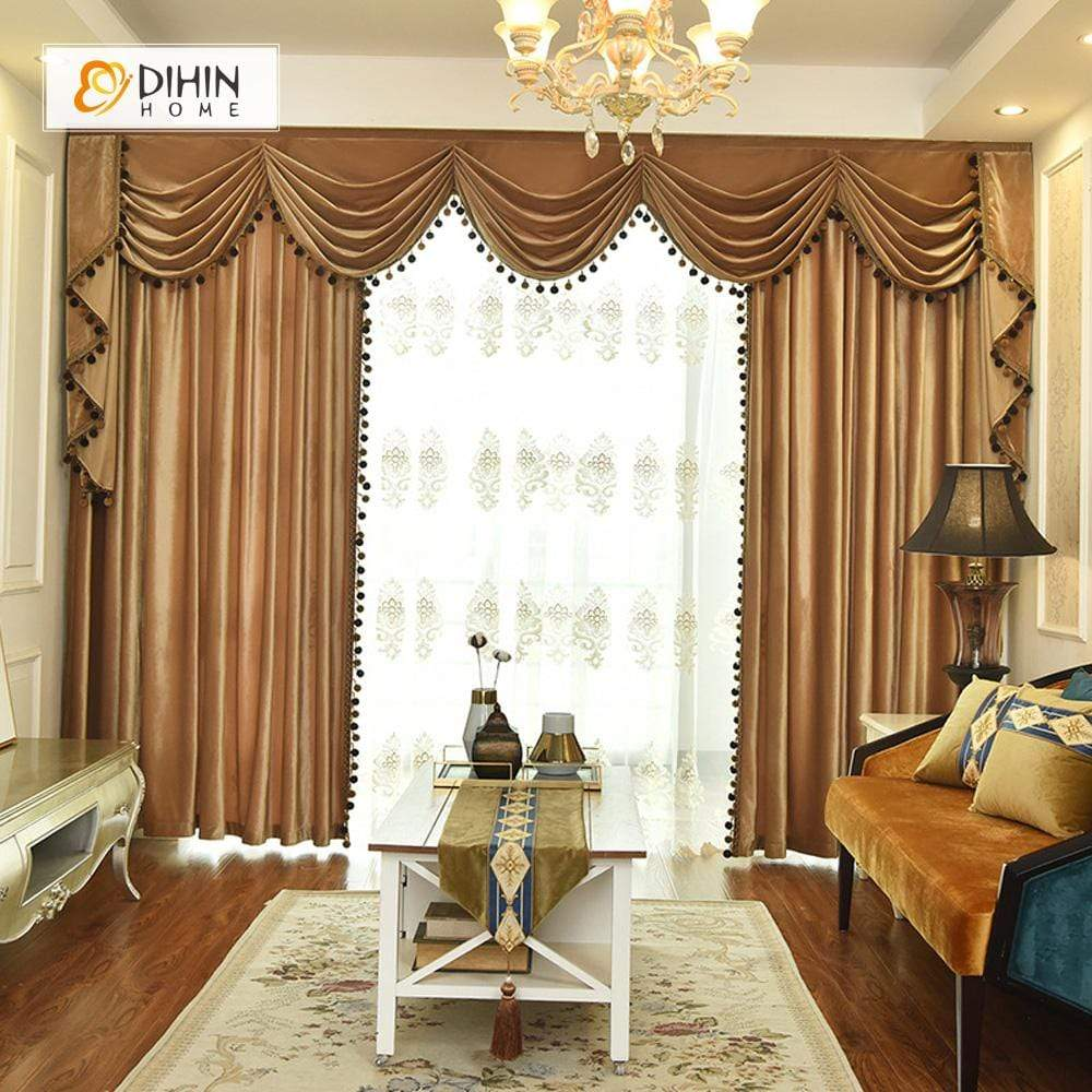 DIHINHOME Home Textile European Curtain DIHIN HOME Solid Brown and Decoration Embroidered Valance ,Blackout Curtains Grommet Window Curtain for Living Room ,52x84-inch,1 Panel
