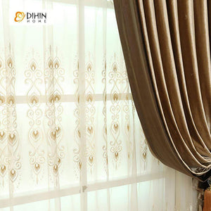 DIHINHOME Home Textile European Curtain DIHIN HOME Solid Brown Embroidered Valance ,Blackout Curtains Grommet Window Curtain for Living Room ,52x84-inch,1 Panel