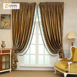 DIHINHOME Home Textile European Curtain DIHIN HOME Solid Brown Velvet,Blackout Grommet Window Curtain for Living Room ,52x63-inch,1 Panel