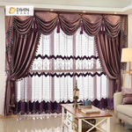 DIHINHOME Home Textile European Curtain DIHIN HOME Solid Coffee Luxurious Exquisite Embroidered Valance ,Blackout Curtains Grommet Window Curtain for Living Room ,52x84-inch,1 Panel