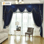 DIHINHOME Home Textile European Curtain DIHIN HOME  Solid Dark Blue and Decoration Embroidered Valance ,Blackout Curtains Grommet Window Curtain for Living Room ,52x84-inch,1 Panel