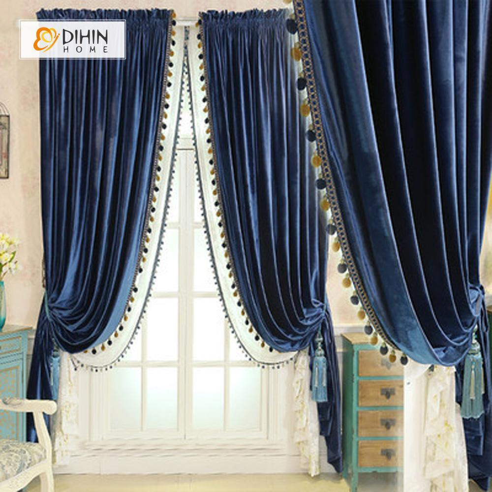 DIHINHOME Home Textile European Curtain DIHIN HOME  Solid Dark Blue Velvet,Blackout Grommet Window Curtain for Living Room ,52x63-inch,1 Panel