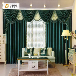 DIHINHOME Home Textile European Curtain DIHIN HOME Solid Green Embroidered Valance,Blackout Curtains Grommet Window Curtain for Living Room ,52x84-inch,1 Panel