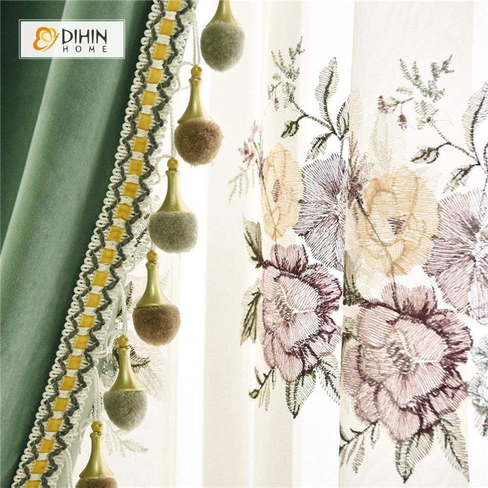 DIHINHOME Home Textile European Curtain DIHIN HOME Solid Green Luxurious Exquisite Embroidered Valance ,Blackout Curtains Grommet Window Curtain for Living Room ,52x84-inch,1 Panel
