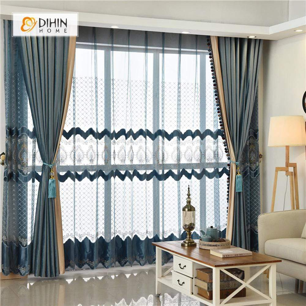 DIHINHOME Home Textile European Curtain DIHIN HOME Solid Luxurious Exquisite Embroidered Valance ,Blackout Curtains Grommet Window Curtain for Living Room ,52x84-inch,1 Panel