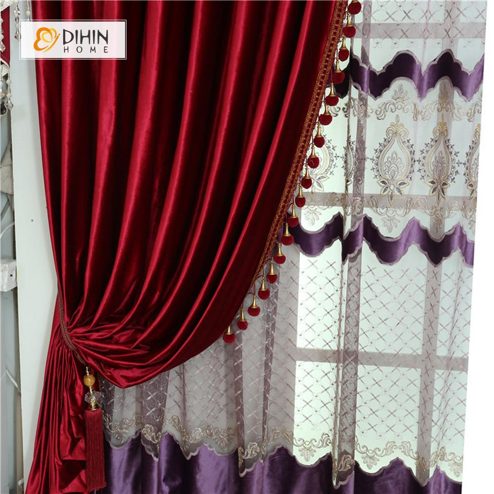 DIHINHOME Home Textile European Curtain DIHIN HOME  Solid Red and Decoration Embroidered Valance ,Blackout Curtains Grommet Window Curtain for Living Room ,52x84-inch,1 Panel