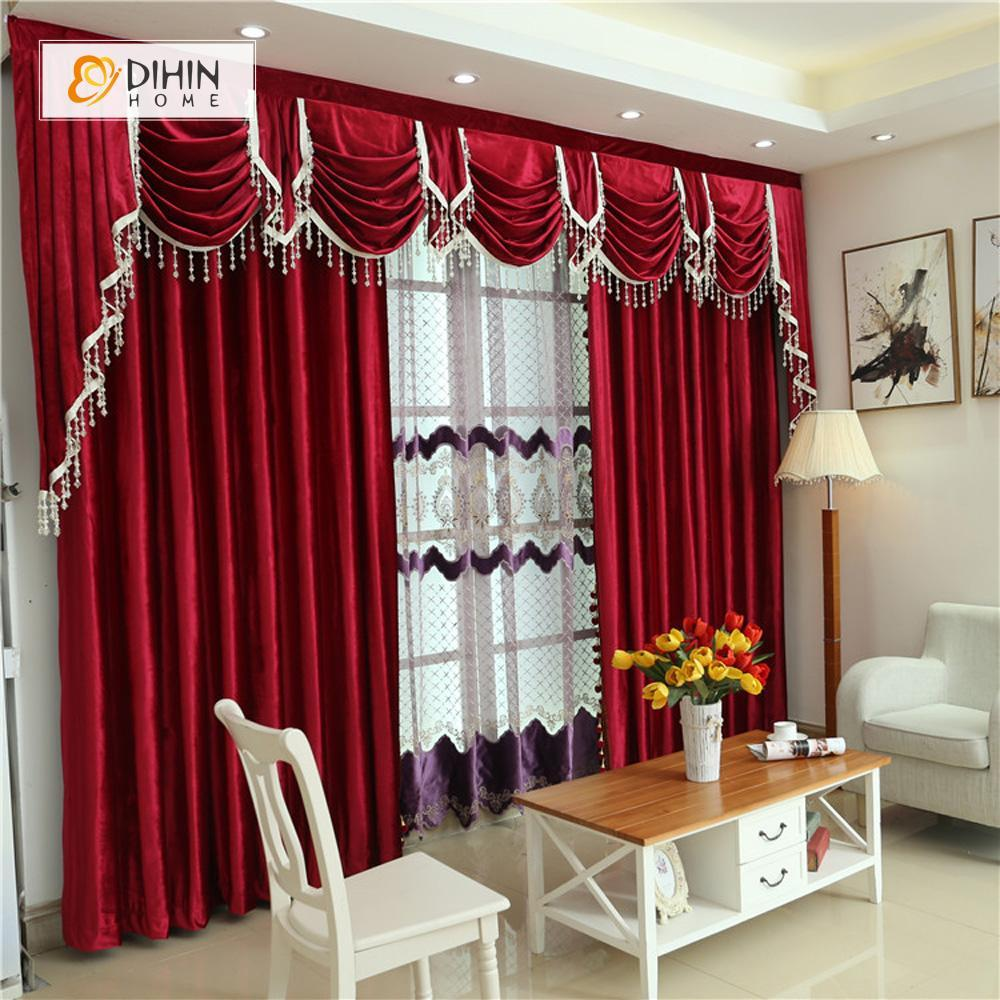 DIHIN HOME Solid Red and Decoration Embroidered Valance ,Blackout Curtains  Grommet Window Curtain for Living Room ,52x84-inch,1 Panel