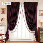 DIHINHOME Home Textile European Curtain DIHIN HOME Solid Red Velvet,Blackout Grommet Window Curtain for Living Room ,52x63-inch,1 Panel