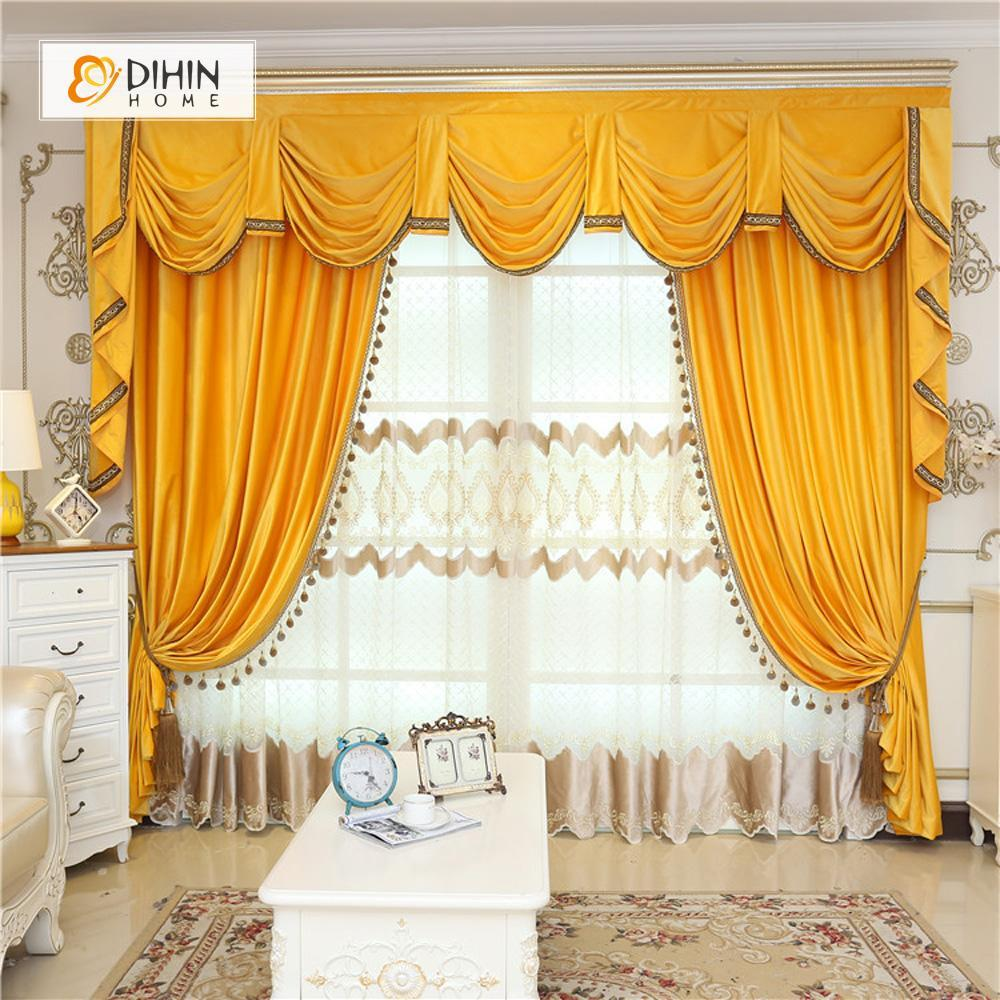 DIHINHOME Home Textile European Curtain DIHIN HOME  Solid Yellow and Decoration Embroidered Valance ,Blackout Curtains Grommet Window Curtain for Living Room ,52x84-inch,1 Panel