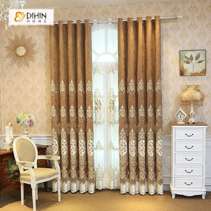 DIHINHOME Home Textile European Curtain DIHIN HOME Three Flowers Embroidered Valance ,Blackout Curtains Grommet Window Curtain for Living Room ,52x84-inch,1 Panel