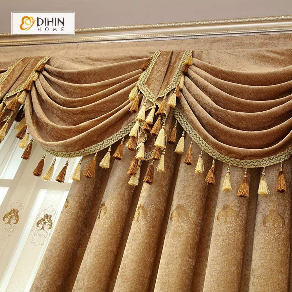 DIHINHOME Home Textile European Curtain DIHIN HOME Velvet Brown Exquisite Luxury Embroidered Valance ,Blackout Curtains Grommet Window Curtain for Living Room ,52x84-inch,1 Panel