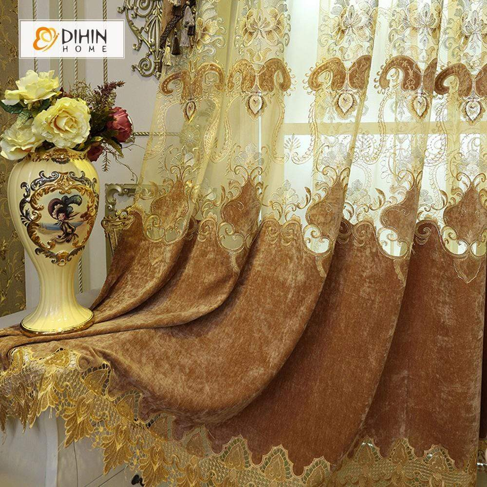 DIHINHOME Home Textile European Curtain DIHIN HOME Velvet Exquisite Luxury Embroidered Valance ,Blackout Curtains Grommet Window Curtain for Living Room ,52x84-inch,1 Panel