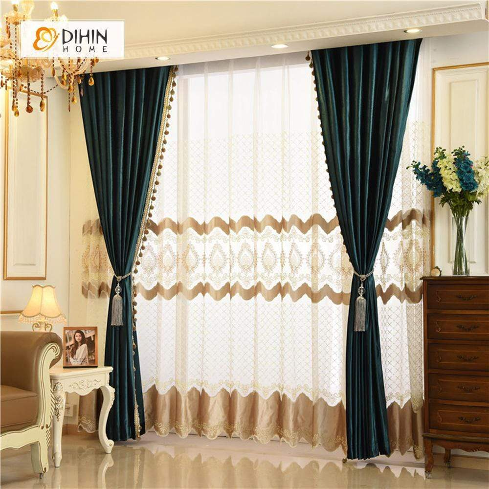 DIHINHOME Home Textile European Curtain DIHIN HOME Velvet Valance ,Blackout Curtains Grommet Window Curtain for Living Room ,52x84-inch,1 Panel