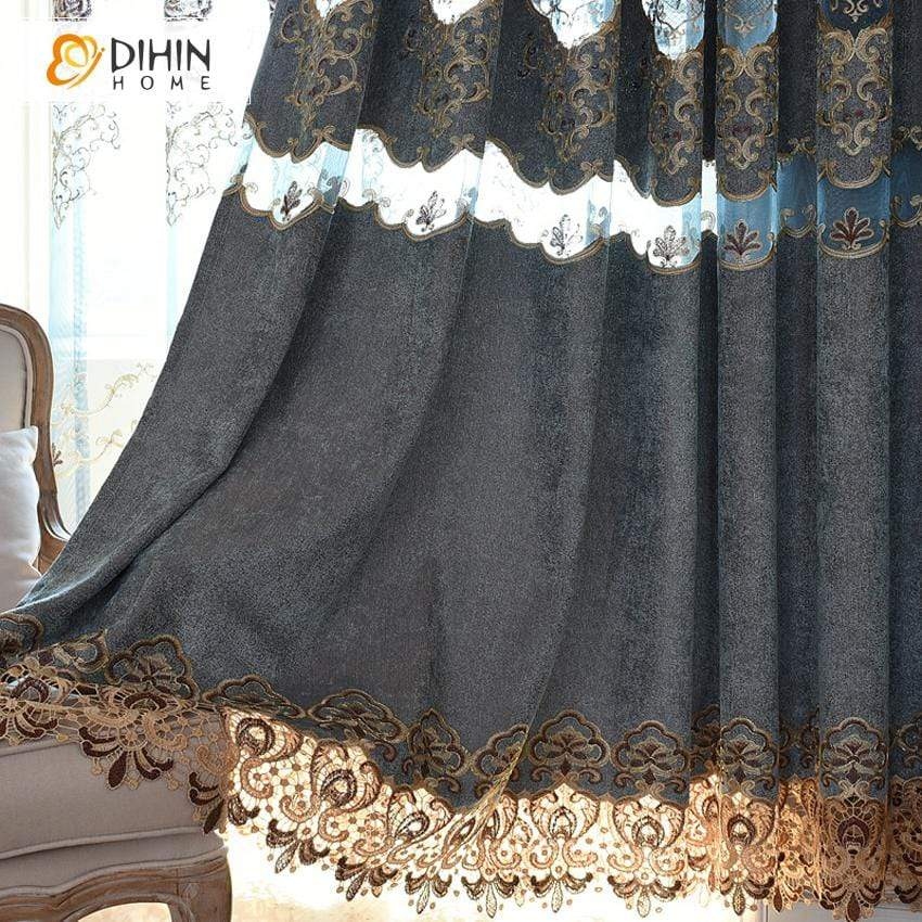 DIHINHOME Home Textile European Curtain DIHIN HOME Vintage Euopean Embroidered Window Curtain ,Blackout Curtains Grommet Window Curtain for Living Room ,52x84-inch,1 Panel