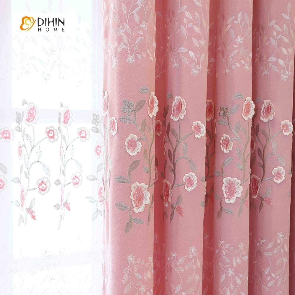 DIHINHOME Home Textile European Curtain DIHIN HOME White and Pink Flowers Embroidered,Blackout Curtains Grommet Window Curtain for Living Room ,52x84-inch,1 Panel