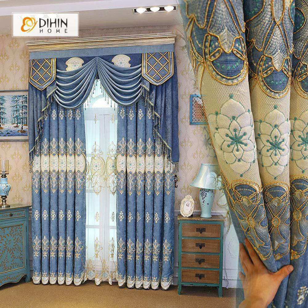 DIHINHOME Home Textile European Curtain DIHIN HOME White Embroidered Blue Background and Valance ,Blackout Curtains Grommet Window Curtain for Living Room ,52x84-inch,1 Panel