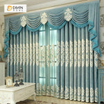 DIHINHOME Home Textile European Curtain DIHIN HOME White Embroidered Blue Valance ,Blackout Curtains Grommet Window Curtain for Living Room ,52x84-inch,1 Panel