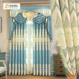 DIHINHOME Home Textile European Curtain DIHIN HOME White Embroidered Light Blue Background and Valance ,Blackout Curtains Grommet Window Curtain for Living Room ,52x84-inch,1 Panel