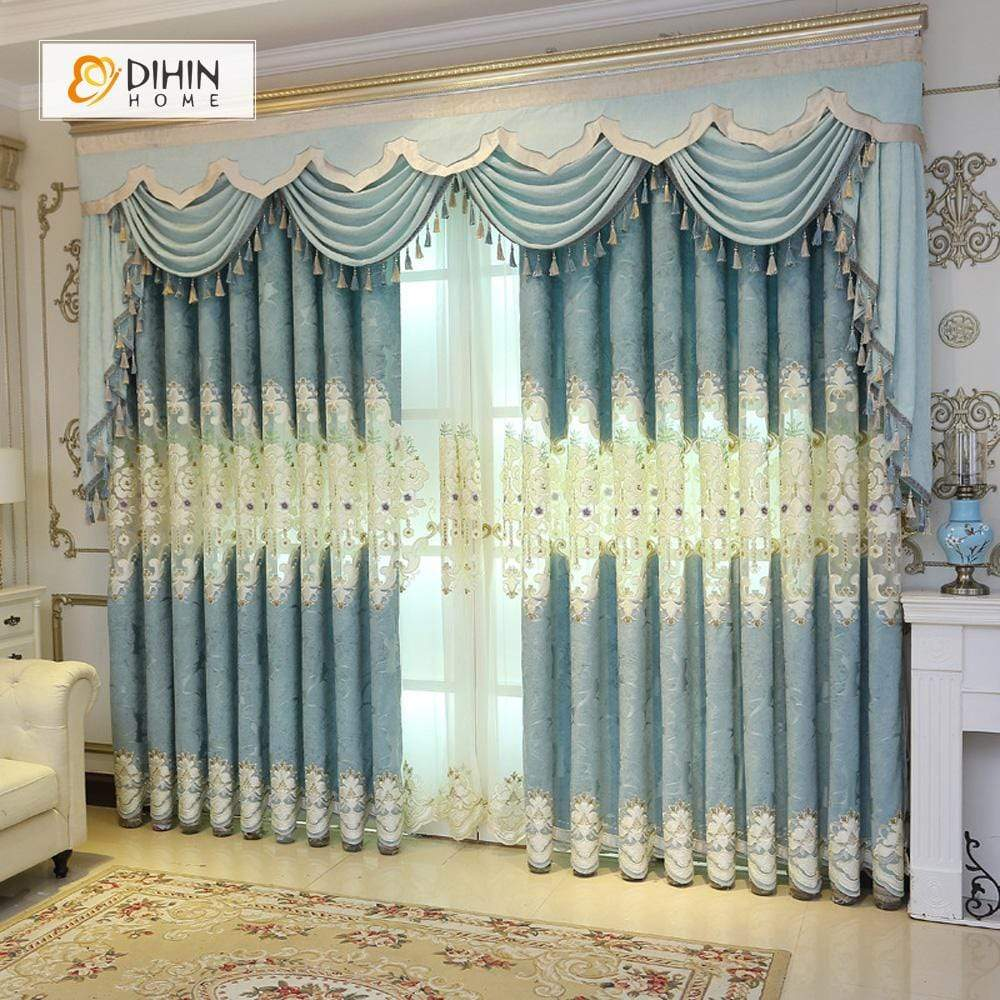 Light Blue Curtains Living Room.Dihin Home White Embroidered Light Blue Valance Blackout Curtains Grommet Window Curtain For Living Room 52x84 Inch 1 Panel