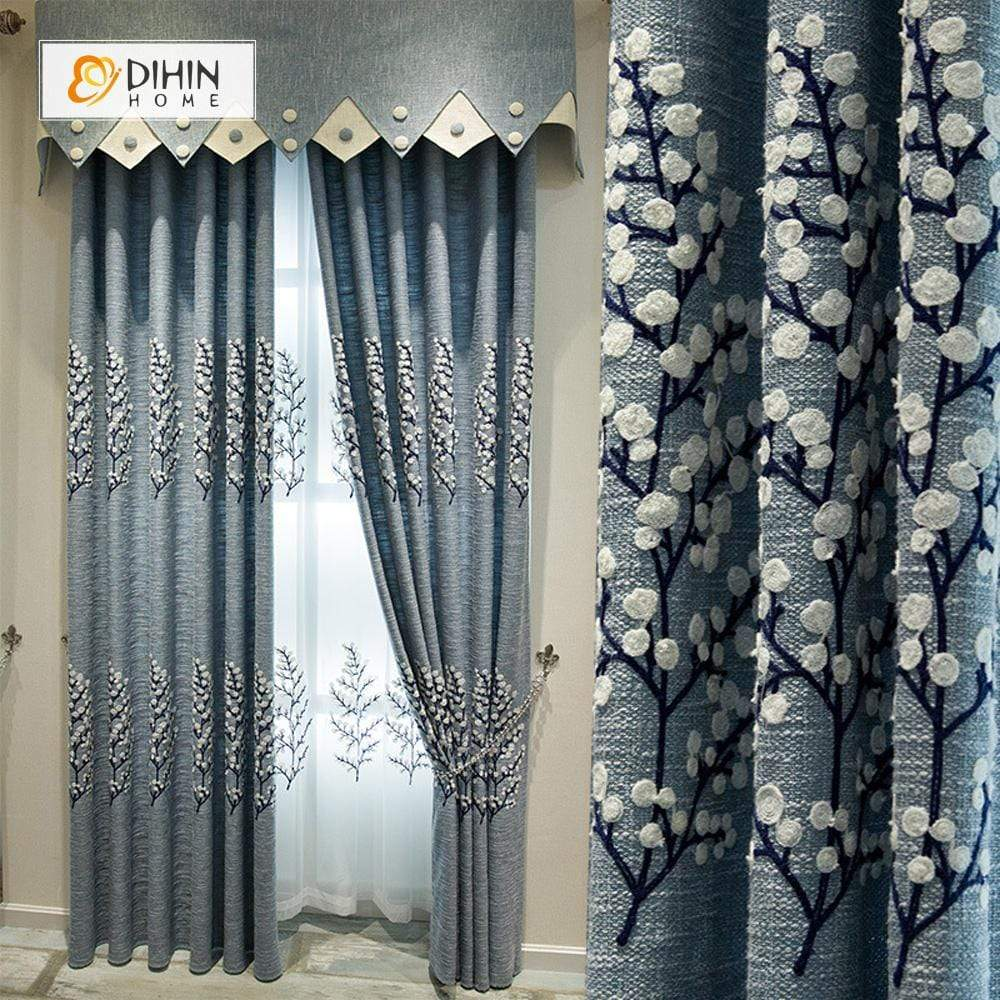 DIHINHOME Home Textile European Curtain DIHIN HOME White Flowers Embroidered Valance ,Blackout Curtains Grommet Window Curtain for Living Room ,52x84-inch,1 Panel