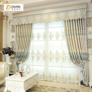 DIHINHOME Home Textile European Curtain DIHIN HOME White Luxurious Embroidered Valance ,Blackout Curtains Grommet Window Curtain for Living Room ,52x84-inch,1 Panel