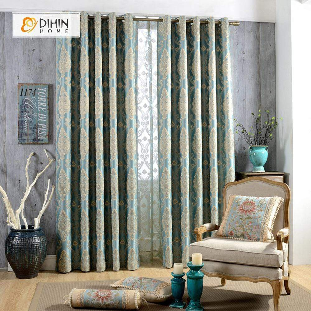 DIHINHOME Home Textile European Curtain DIHIN HOME White Pattern Embroidered,Blackout Grommet Window Curtain for Living Room ,52x63-inch,1 Panel