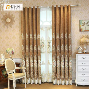 DIHINHOME Home Textile European Curtain DIHIN HOME White Pattern Embroidered Brown Valance ,Blackout Curtains Grommet Window Curtain for Living Room ,52x84-inch,1 Panel