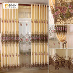 DIHINHOME Home Textile European Curtain DIHIN HOME Yellow Elegant Flowers Embroidered,Blackout Grommet Window Curtain for Living Room ,52x63-inch,1 Panel