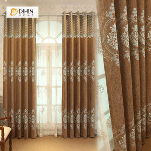 DIHINHOME Home Textile European Curtain DIHIN HOME Yellow Flowers Embroidered,Velvet,Blackout Grommet Window Curtain for Living Room ,52x63-inch,1 Panel