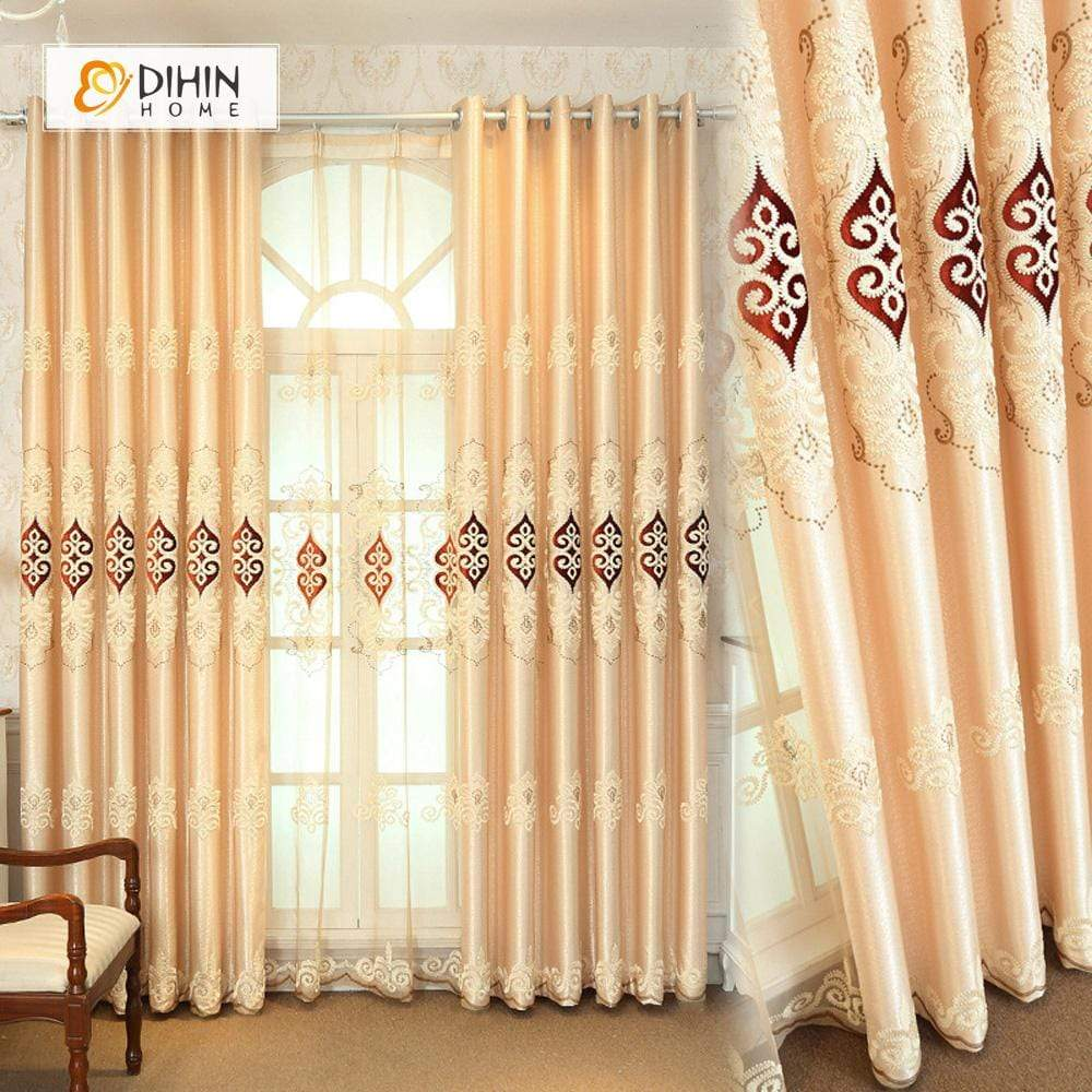 DIHINHOME Home Textile European Curtain DIHIN HOME Yellow Lexury Embroidered,Blackout Grommet Window Curtain for Living Room ,52x63-inch,1 Panel