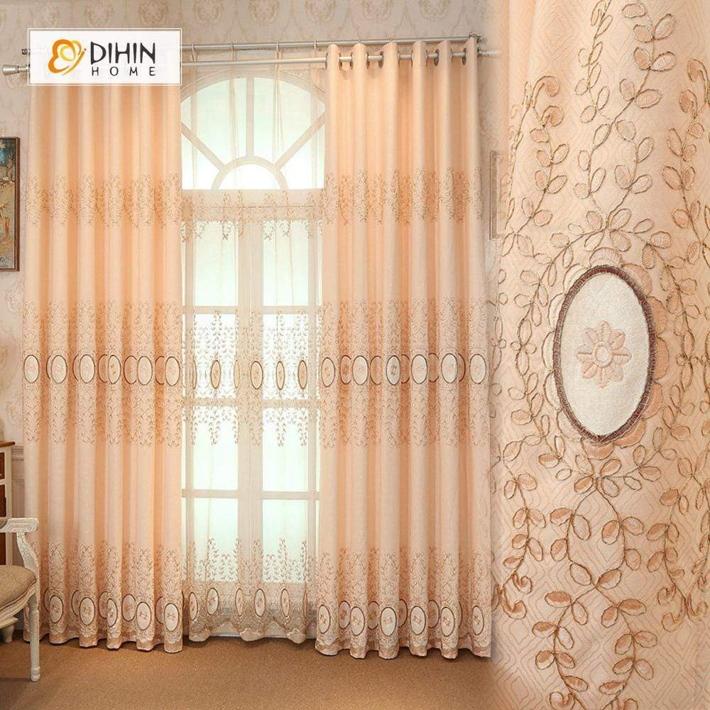 DIHINHOME Home Textile European Curtain DIHIN HOME Yellow Luxurious Flowers Embroidered,Blackout Grommet Window Curtain for Living Room ,52x63-inch,1 Panel