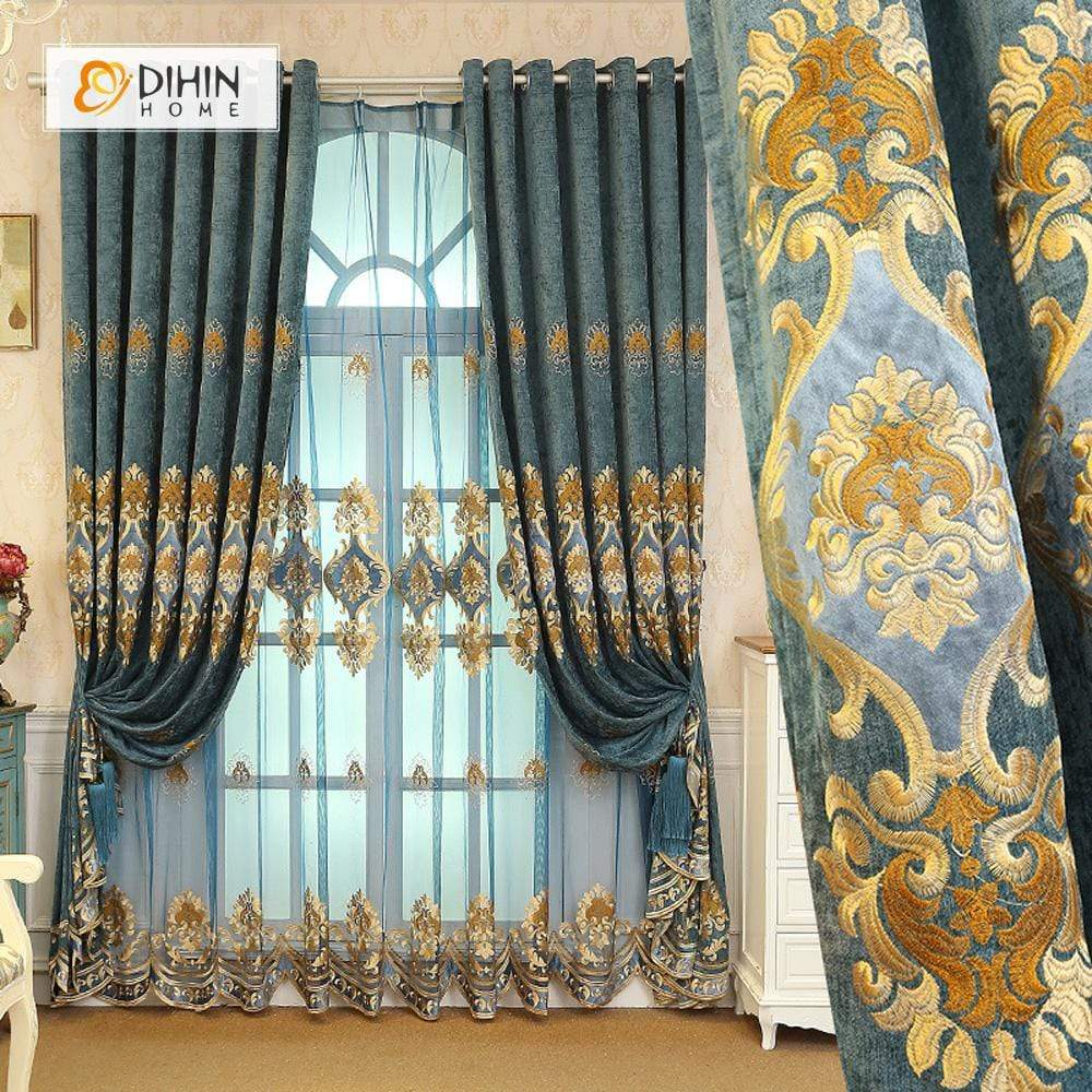 DIHINHOME Home Textile European Curtain DIHIN HOME Yellow Pattern Embroidered ,Blackout Curtains Grommet Window Curtain for Living Room ,52x84-inch,1 Panel