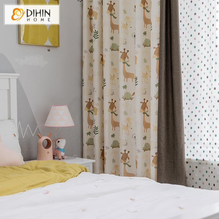DIHINHOME Home Textile Kid's Curtain Copy of DIHIN HOME Cartoon Sailing Boat Printed,Blackout Grommet Window Curtain for Living Room ,52x63-inch,1 Panel