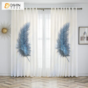 DIHINHOME Home Textile Kid's Curtain DIHIN HOME 3D Printed Blue Feathers Blackout Curtains,Window Curtains Grommet Curtain For Living Room ,39x102-inch,2 Panels Included