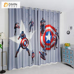 DIHINHOME Home Textile Kid's Curtain DIHIN HOME 3D Printed Captain America Blackout Curtains,Window Curtains Grommet Curtain For Living Room ,39x102-inch,2 Panels Included
