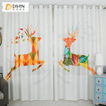 DIHINHOME Home Textile Kid's Curtain DIHIN HOME 3D Printed Cartoon Abstract Fawn Blackout Curtains,Window Curtains Grommet Curtain For Living Room ,39x102-inch,2 Panels Included