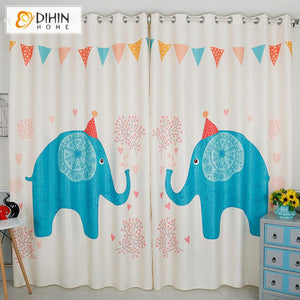 DIHINHOME Home Textile Kid's Curtain DIHIN HOME 3D Printed Cartoon Blue Elephant Blackout Curtains,Window Curtains Grommet Curtain For Living Room ,39x102-inch,2 Panels Included