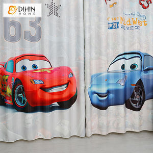 DIHINHOME Home Textile Kid's Curtain DIHIN HOME 3D Printed Cartoon Cars Blackout Curtains,Window Curtains Grommet Curtain For Living Room ,39x102-inch,2 Panels Included