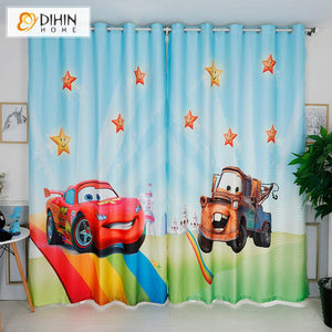 DIHINHOME Home Textile Kid's Curtain DIHIN HOME 3D Printed Cartoon Cars The Mcqueen Blackout Curtains,Window Curtains Grommet Curtain For Living Room ,39x102-inch,2 Panels Included