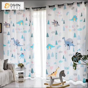DIHINHOME Home Textile Kid's Curtain DIHIN HOME 3D Printed Cartoon Dinosaur Blackout Curtains,Window Curtains Grommet Curtain For Living Room ,39x102-inch,2 Panels Included